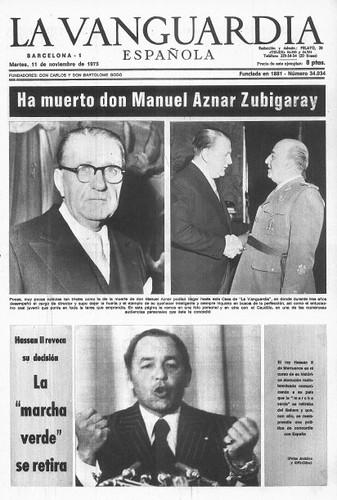 Portada de La Vanguardia en la muerte de Aznar