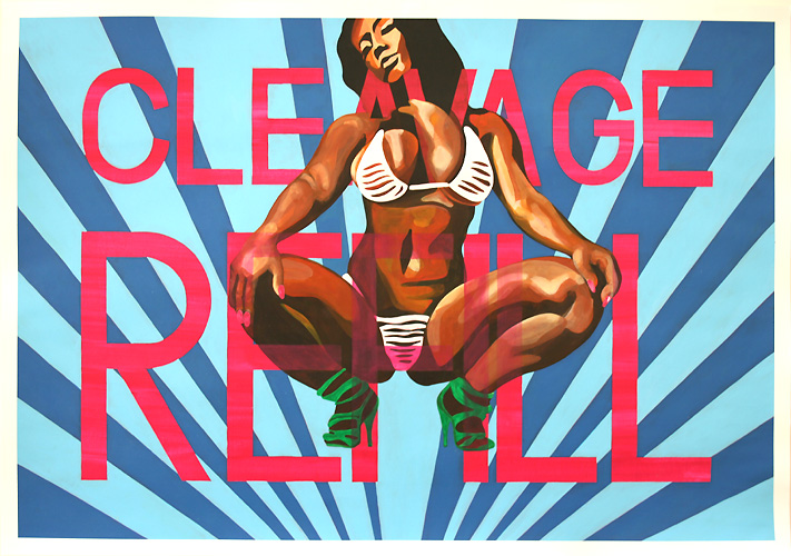 Cleavage Refill, Acrylic on Paper, 100cm x 70cm by Robin Clare