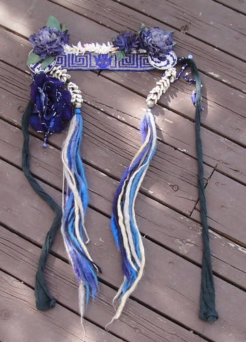 Blue-beaded dance headband & belt
