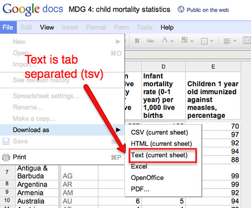 TSV from google docs