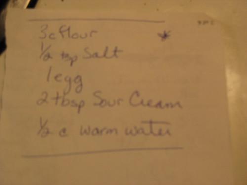 Hand-written version of the dough recipe