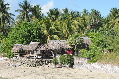 Village huts on Tarawa, Kiribati