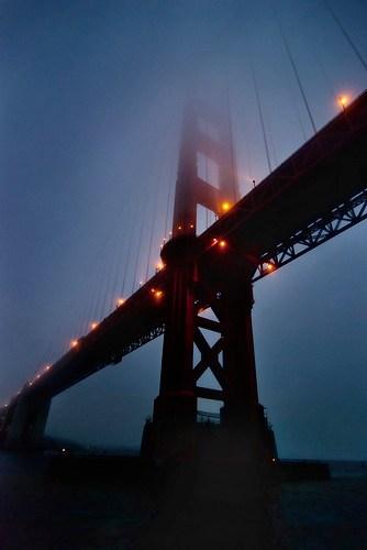 Golden Gate Bridge at Dusk from below