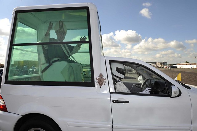 The Stig drives the Popemobile