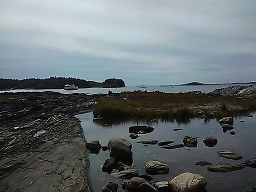 Rocks, Plants, Tourists, Island