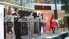 (L to R) Naheed Nenshi, Barb Higgins, Bob Hawkesworth at Southcentre mayoral forum