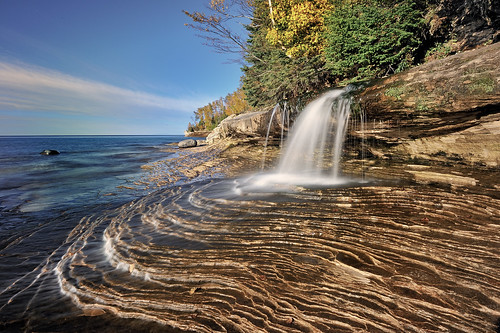 Miners Beach Falls , Pictured Rocks National Lakeshore, Michigans upper  peninsula  (explore # 61 Oct 14, 2010)