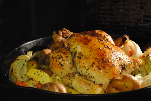 Chicken roasting in the oven