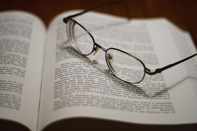 Eyeglasses left on an abandoned lawbook