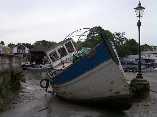 Old boat on slipway