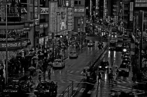Rainy night in Shinjuku (B/W)