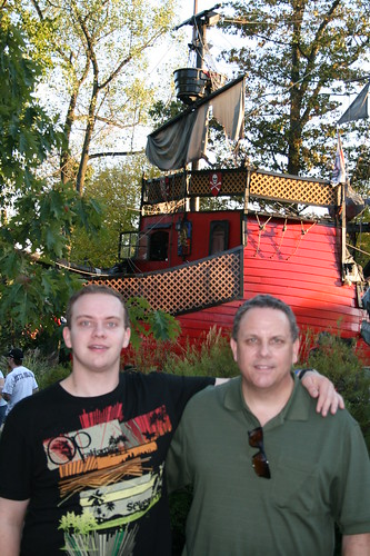 Sean and Brian in front of the Pirate ship