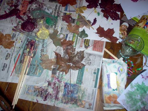 leaf printing mess!