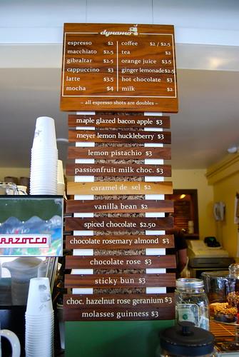Dynamo Donuts menu