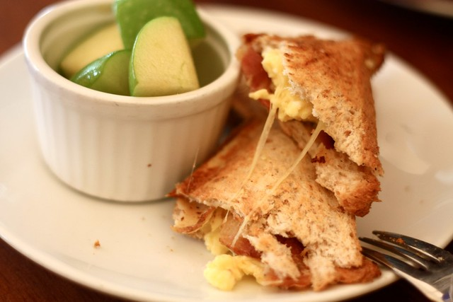 bacon cheese & scrambled eggs toasties
