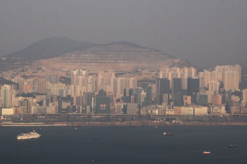 The missing hillside of the Kowloon Peninsula