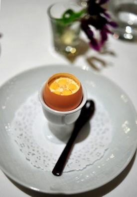 Amuse: Farm Egg with Spiced Melon
