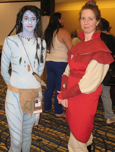 23. A character from James Camerons Avatar with a character from Avatar the Last Airbender