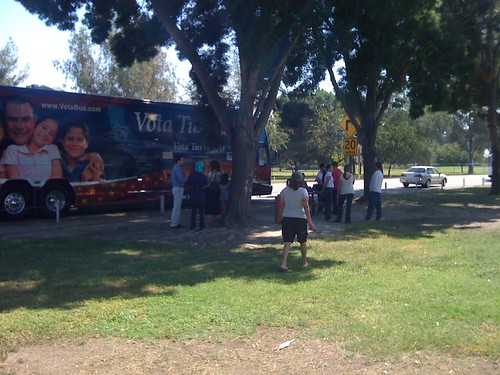 NOM tour bus in Visalia
