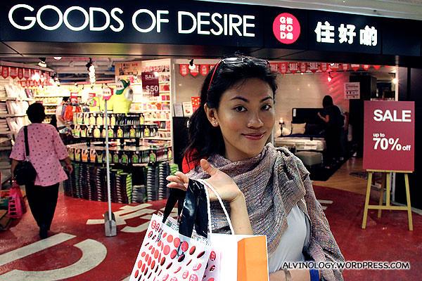 Rachel at a G.O.D. store in Hong Kong