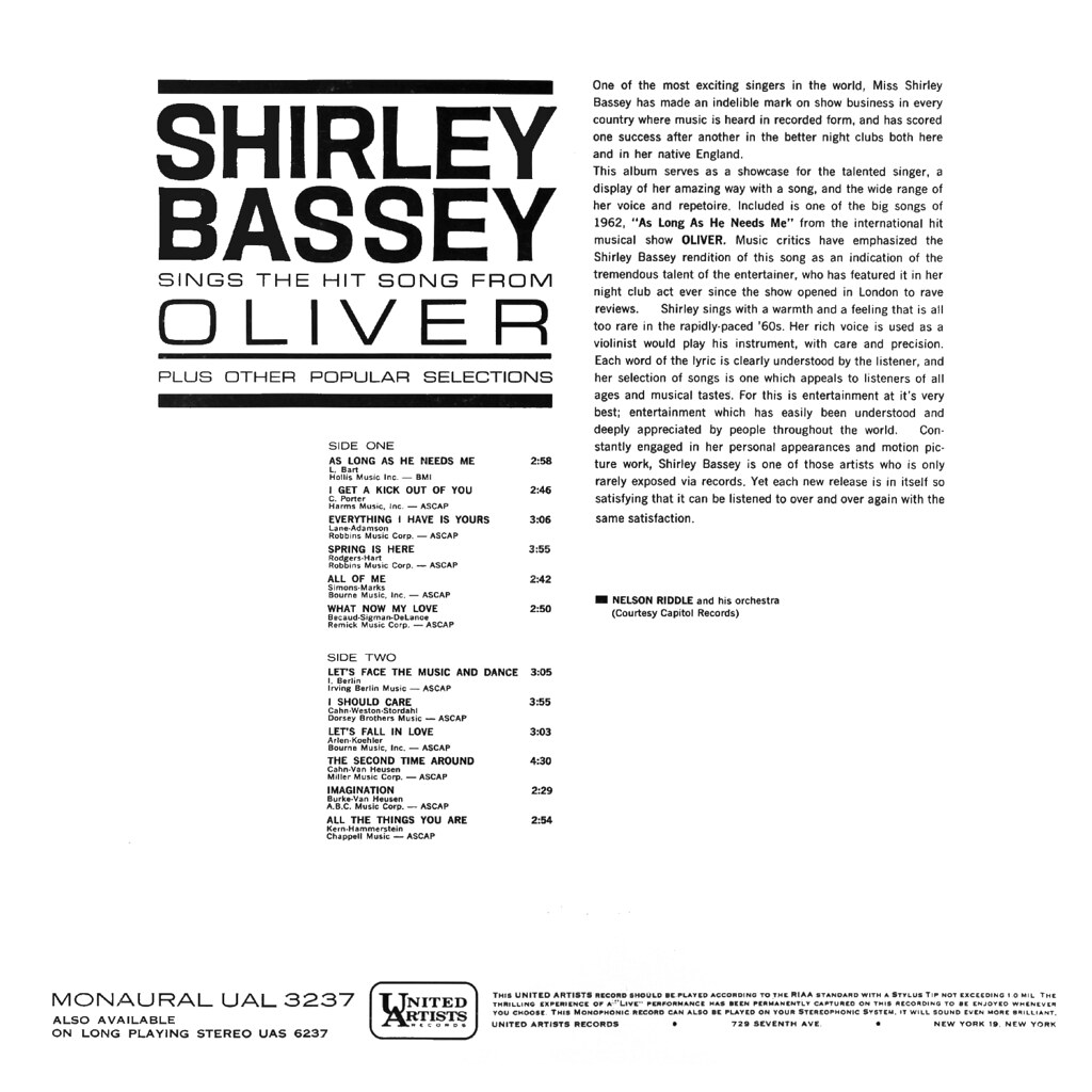 Shirley Bassey Sings the Hit Song from Oliver
