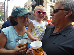 Erin and Jerry Dotsey with Addison Sawyer at the 4th of July Parade in Lexington, Kentucky