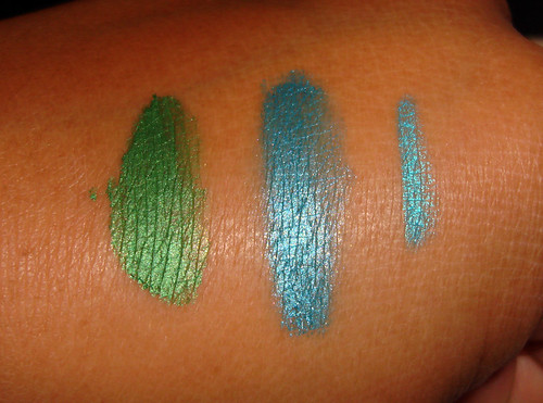 MUFE Aqua Cream and Aqua Eyes swatches