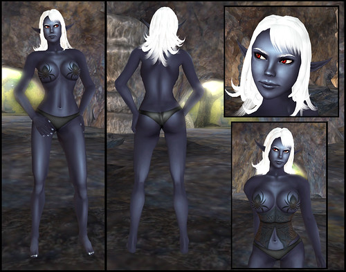 female dark elf - skin and clothes detail