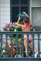 Watering the porch pots