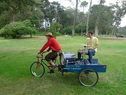 Nice to have roadies who can drum. Jeremiah and Mark testing the LiveOnBike drum rig by Rock The Bike.