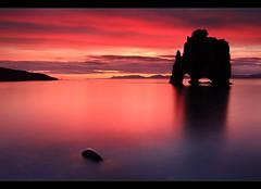 Blood Red Sunset - Hvítserkur, Iceland by orvaratli
