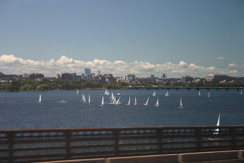 Sailboats on the Charles from the Red Line