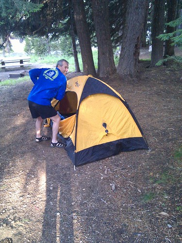 McCoy and his tent, Cascade Lakes relay, 2010