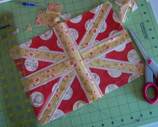 union jack paperpieced block for fresh modern bee II