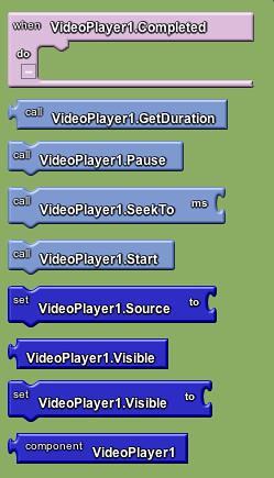 Google app inventor - video blocks