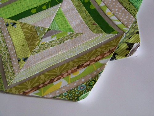 """Green and tan string pieced quilt block for """"Fresh Modern Bee 2"""""""
