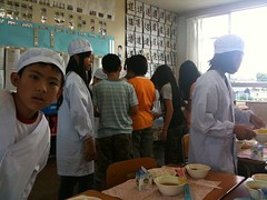 Lunch in a Japanese primary/elementary school:...