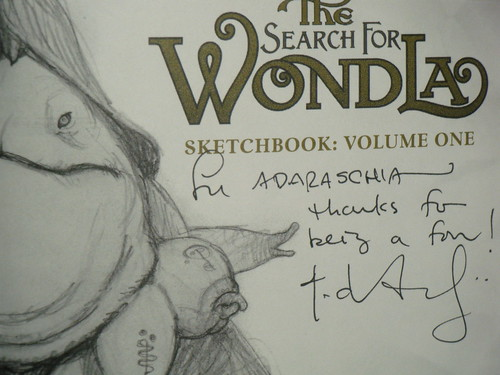 The Search for WondLa sketchbook: title page