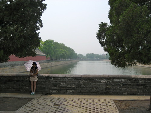 A girl and a moat