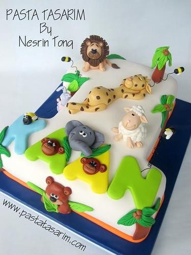1ST BIRTHDAY ANIMAL CAKE - KAAN