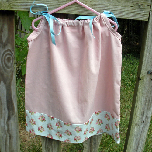 pillowcase dress pink with blue flowers