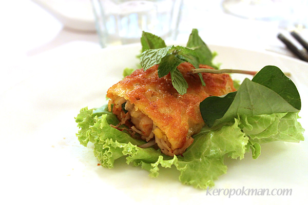 Banh Xeo – Rice flour crepe filled with Mung beans, prawns & Enoki mushrooms (wrapped with lettuce and fresh Vietnamese herbs)