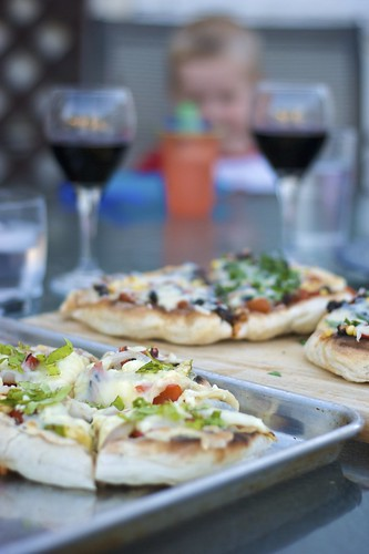 Yummy BBQ'd Veggie Pizza and Wine