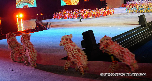 The lion dancers take to the stage