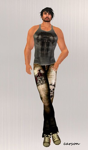 Equilibrium Punisher tank male gift Equilibrium Brown drawed jeans MM