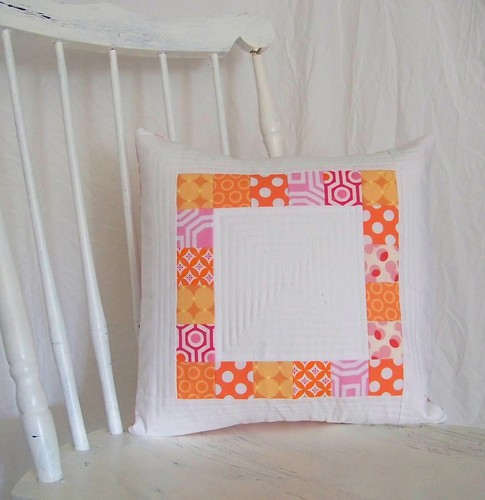 handmade patchwork pillow pink orange and white