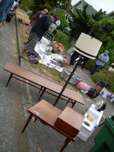 Yard sale tables etc.