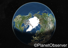Globe centred on the North Pole - Satellite im...