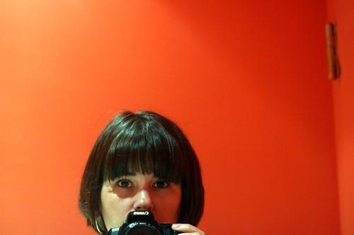 damn hell blindingly red orange bathroom