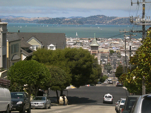 view of the SF Bay from Steiner Street